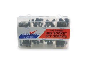 Socket Set Screw Asst, Steel, Black, 195 PC