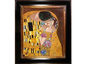 """""""The Kiss"""" by Gustav Klimt Framed Hand Painted Art"""