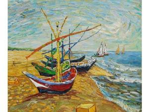 Harbor Scenes: Fishing Boats on the Beach at Saintes-Maries - Hand Painted Canvas Art