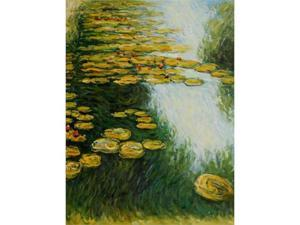 Monet Paintings: Water Lilies (Yellow and Green) - Hand Painted Canvas Art