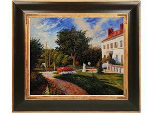 The Garden of Les Mathurins at Pontoise with Opulent Frame - Dark Stained Wood with Gold Trim - Hand Painted Framed Canvas Art
