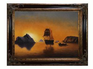 Arctic Scene with Excalibur Gold and Glossy Black Frame - Hand Painted Framed Canvas Art