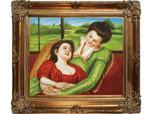 Reine Lefebre and Margo Before a Window with Renaissance Bronze Frame - Bronze Finish - Hand Painted Framed Canvas Art