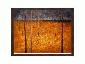 """Art Reproduction Oil Painting - Klimt Paintings: Beech Forest I with Copper Sweep - Dark wood frame with a distressed bronze finish. - 39.5"""" X 51.5"""" - Hand Painted Framed Canvas Art"""