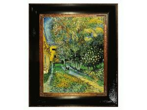"""Art Reproduction Oil Painting - Van Gogh Paintings: Asylum and Garden with Opulent Frame - Dark Stained Wood with Gold Trim - 25"""" X 29"""" - Hand Painted Framed Canvas Art"""
