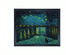 "Art Reproduction Oil Painting - Van Gogh Paintings: Starry Night Over the Rhone with La Scala Frame - Black and Gold Finish - 19"" X 23"" - Hand Painted Framed Canvas Art"