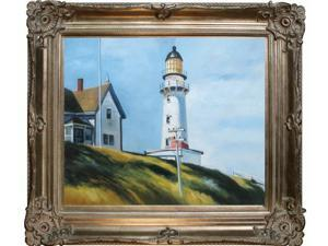 """Art Reproduction Oil Painting - Lighthouse at Two Lights with Renaissance Champagne Frame - 30"""" X 34"""" - Hand Painted Framed Canvas Art"""