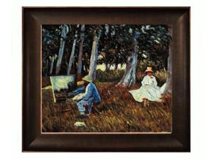 """Art Reproduction Oil Painting - Claude Monet Painting by the Edge of a Wood with Veine D' Or Bronze Scoop - Bronze and Rich Brown Finish - 26.5"""" X 30.5"""" - Hand Painted Framed Canvas Art"""