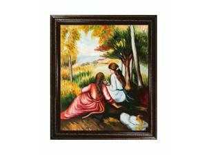 """Art Reproduction Oil Painting - Renoir Paintings: In The Meadow (Picking Flowers) with Heritage Wood Frame - Cherry Finish/Gold Trim - 26"""" X 30"""" - Hand Painted Framed Canvas Art"""