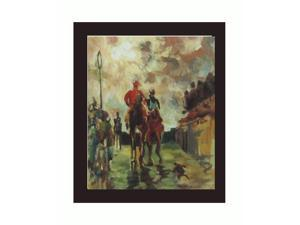 "Art Reproduction Oil Painting - Jockeys with New Age Wood Frame - Black Finish - 24.75"" X 28.75"" - Hand Painted Framed Canvas Art"