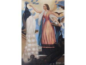 Girl Feeding Peacocks - Hand Painted Canvas Art