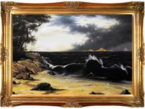 Storm Clouds Over the Coast Pre-Framed - Hand Painted Canvas Art