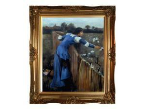 """Art Reproduction Oil Painting - The Flower Picker with Victorian Gold Frame - Gold Finish - 28"""" X 32"""" - Hand Painted Framed Canvas Art"""