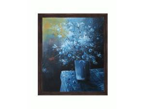 "Art Reproduction Oil Painting - White Flowers 56 with Copper Sweep - Dark wood frame with a distressed bronze finish. - 23.125"" X 27.125"" - Hand Painted Framed Canvas Art"
