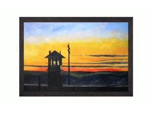 """Art Reproduction Oil Painting - Railroad Sunset with Grazed Ebony - Distressed Black Finish - 28"""" X 40"""" - Hand Painted Framed Canvas Art"""
