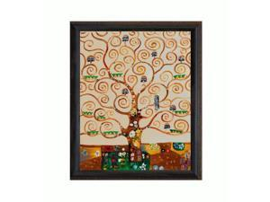 """Art Reproduction Oil Painting - Klimt Paintings: Tree of Life with La Scala King Frame - Black and Gold Finish - 20.5"""" X 24.5"""" - Hand Painted Framed Canvas Art"""