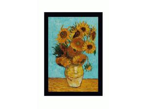 """Art Reproduction Oil Painting - Van Gogh Paintings: Sunflowers with New Age Wood Frame - Black Finish - 28.75"""" X 40.75"""" - Hand Painted Framed Canvas Art"""