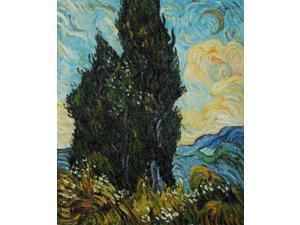 Van Gogh Paintings: Two Cypresses - Hand Painted Canvas Art