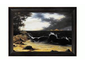"""Art Reproduction Oil Painting - Storm Clouds Over the Coast with Veine D' Or Bronze Scoop - Bronze and Dark Brown Finish - 30.5"""" X 42.5"""" - Hand Painted Framed Canvas Art"""