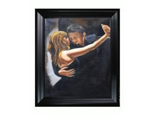 """Art Reproduction Oil Painting - Tango II with Black Satin King Frame - Eco Friendly - 27"""" X 31"""" - Hand Painted Framed Canvas Art"""