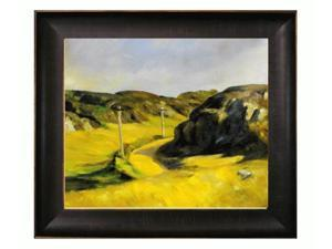 """Art Reproduction Oil Painting - Road in Maine with Veine D' Or Bronze Scoop - Bronze and Rich Brown Finish - 26.5"""" X 30.5"""" - Hand Painted Framed Canvas Art"""