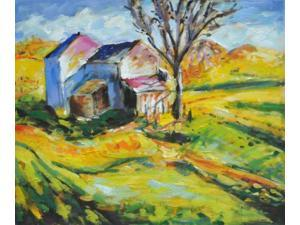 House in a Landscape - Hand Painted Canvas Art