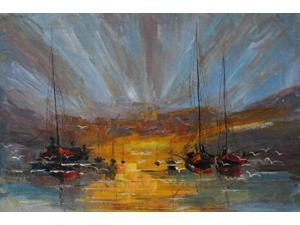 "Boats - Large 24"" X 36""- Hand Painted Canvas Art"
