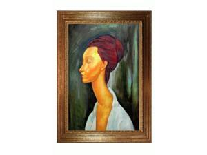 """Art Reproduction Oil Painting - Modigliani Paintings: Lunia Czechovska with Vienna Wood Frame - Broken Gold Leaf Finish - 31"""" X 43"""" - Hand Painted Framed Canvas Art"""