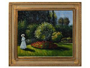 "Art Reproduction Oil Painting - Monet Paintings: Jeanne-Marguerite Lecadre (Lady in a Garden) with Regal Champagne Frame - Dark Champagne Finish - 28.5"" X 32.5"" - Hand Painted Framed Canvas Art"