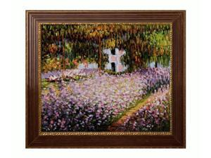 """Art Reproduction Oil Painting - Monet Paintings: Artist's Garden at Giverny with Vienna Wood Frame - Red and Gold Leaf Finish - 27"""" X 31"""" - Hand Painted Framed Canvas Art"""