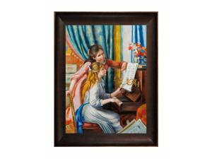 """Art Reproduction Oil Painting - Renoir Paintings: Young Girls at the Piano with Veine D' Or Bronze Scoop - Bronze and Rich Brown Finish - 36.5"""" X 46.5"""" - Hand Painted Framed Canvas Art"""