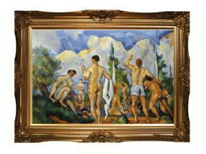 """Art Reproduction Oil Painting - Closeout Deals: Bathers (affordable line) with Victorian Gold Frame - Gold Finish - 32"""" X 44"""" - Hand Painted Framed Canvas Art"""