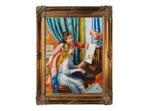 """Art Reproduction Oil Painting - Renoir Paintings: Young Girls at the Piano with Renaissance Bronze Frame - Bronze Finish - 40"""" X 50"""" - Hand Painted Framed Canvas Art"""