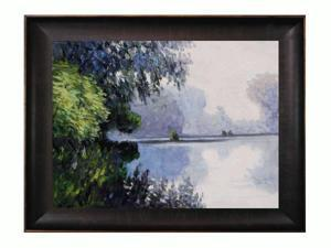 """Art Reproduction Oil Painting - Monet Paintings: Morning on the Seine near Giverny with Veine D' Or Bronze Scoop - Bronze and Rich Brown Finish - 36.5"""" X 46.5"""" - Hand Painted Framed Canvas Art"""