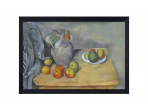 """Art Reproduction Oil Painting - Cezanne Paintings: Pitchet et Fruits sur une Table with Woven Onyx - Ribbed Textured Black Finish Frame - 28"""" X 40"""" - Hand Painted Framed Canvas Art"""