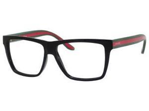 Gucci 1008 Eyeglasses-In Color-Shiny Black / Red Green (051N)-Size-55/14/150