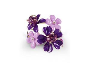 Gold Tone White CZ Purple Stone Floral Bangle Bracelet