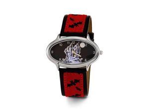 New Women's Red Black Bat Leather Band Wrist Watch