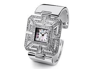 New Silver Tone Bangle White CZ Fashion Quartz Watch