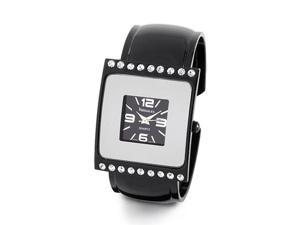 New Ladies Square CZ Bezel Black Modern Bangle Watch
