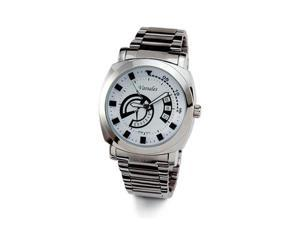 Mens Silver Tone White Dial Stainless Case Quartz Watch