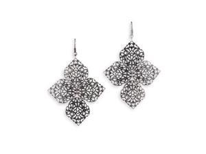 Unique Open Leaf 4 Scroll Silver Tone Dangle Earrings