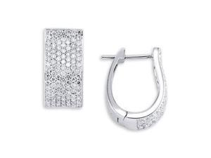 Solid 18K White Gold Hoops Round White Diamond Earrings