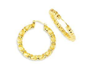 Womens 14k Bonded Gold Twisted Hoops Large Earrings