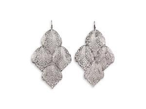 Silver Tone Laser Cut Scroll Dangle Chandelier Earrings