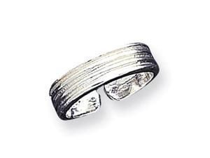 925 Sterling Silver Detailed Fashion Band Toe Ring