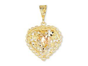 14k Yellow White Rose Gold Floral Lace Heart Pendant