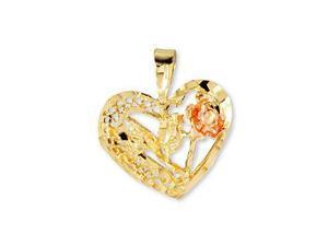 14k Yellow Rose Gold Diamond Cut Heart Flower Pendant