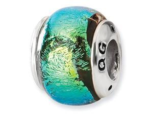 925 Sterling Silver Green Dichroic Glass Jewelry Bead