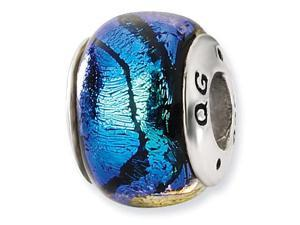 925 Sterling Silver Blue Stripes Dichroic Glass Bead